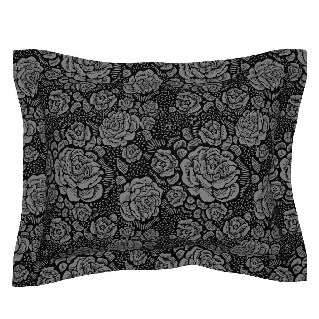 Sebright Pillow Sham featuring Rose remix small - black/grey by cinneworthington