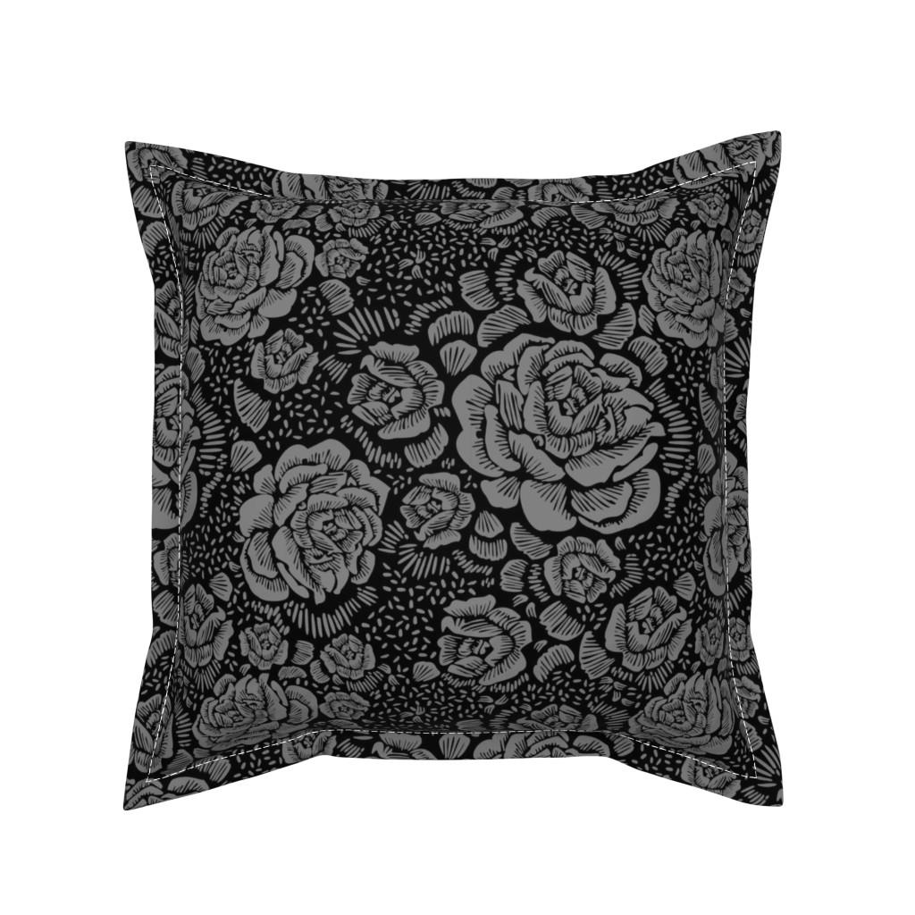 Serama Throw Pillow featuring Rose remix small - black/grey by cinneworthington