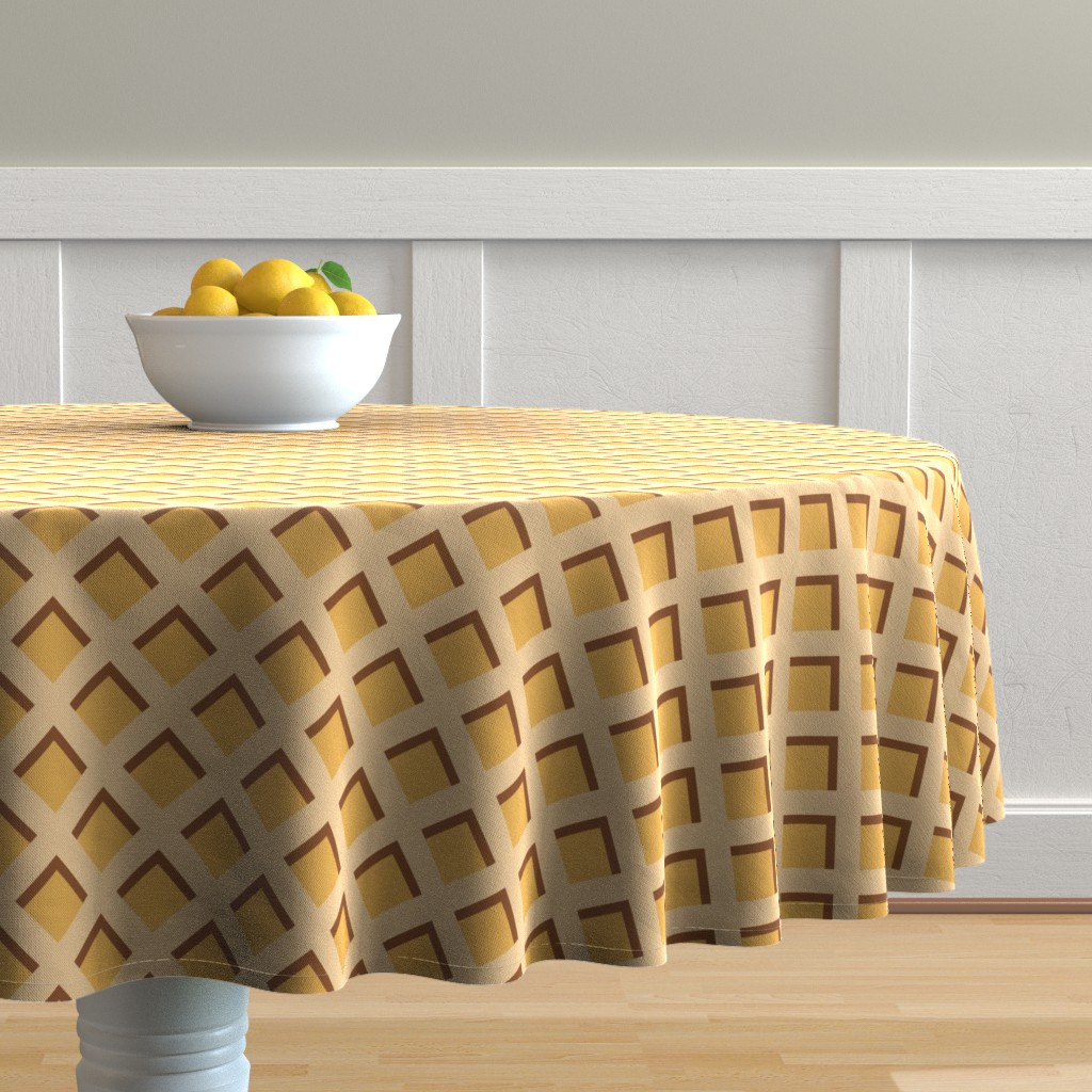 "Malay Round Tablecloth featuring 2"" Ice Cream Waffle Cone  by littlelionworkshop"