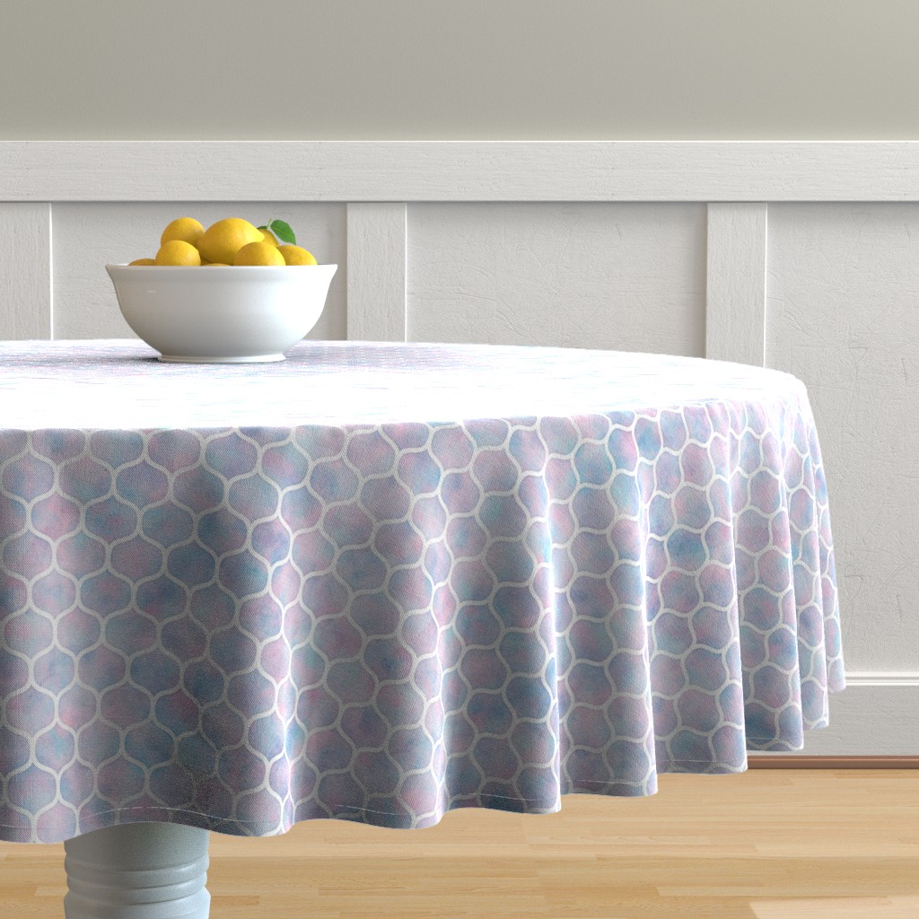 Malay Round Tablecloth featuring Bold Ogee Pattern in Cotton Candy Watercolor by raccoongirl