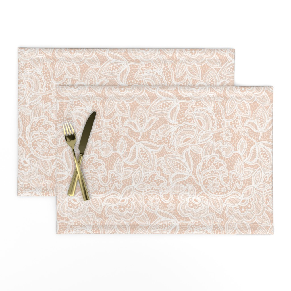 Lamona Cloth Placemats featuring Blush Sprigs and Blooms Coordinating Lace 1 by ivieclothco
