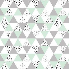 mint + gray + b/w dots triangles
