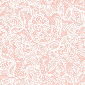 Coral Sprigs and Blooms Coordinate Lace 1
