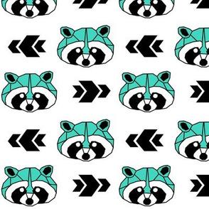 Raccoon >> Woodland Geometric Kids Baby Nursery Illustration >> Turquoise and Black