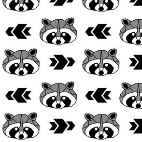Raccoon >> Woodland Geometric Kids Baby Nursery Illustration >> Black, White, and Grey