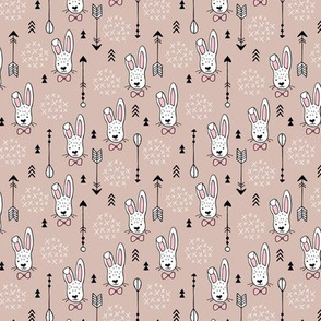 Cool hipster white bunny and geometric arrows spring easter design in gender girls pink beige XS