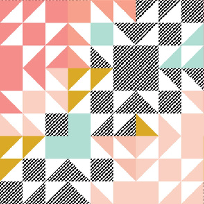 blush puzzle wholecloth // diagonal stripe