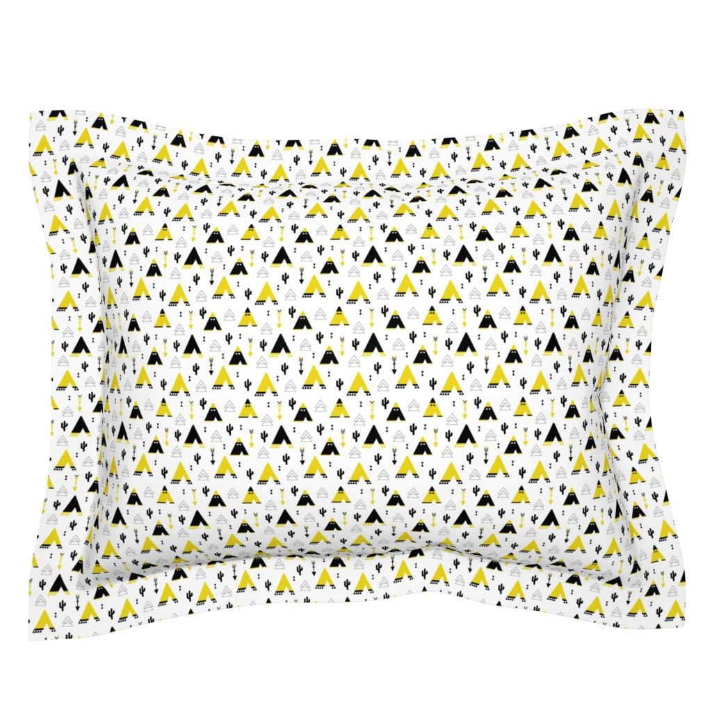 Sebright Pillow Sham featuring Teepee tent arrows and cactus garden cool kids geometric scandinavian style print gender neutral yellow XS by littlesmilemakers