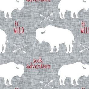 Buffalo on Grey Linen with Red Be Wild & Seek Adventuren
