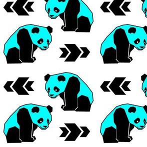Cyan Panda with Arrows