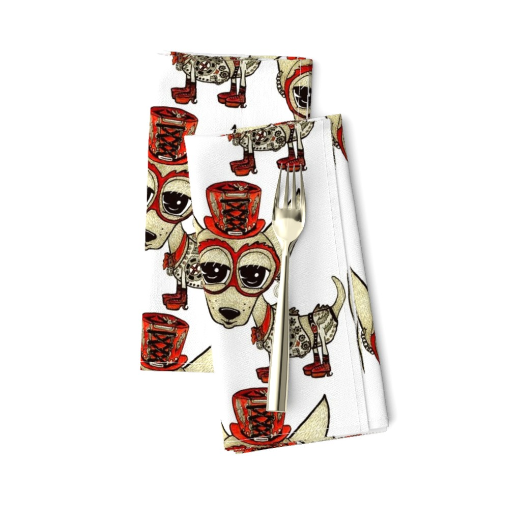 Amarela Dinner Napkins featuring #SFDesignADay Steampunk Chihuahua, large scale, white beige tan red by amy_g