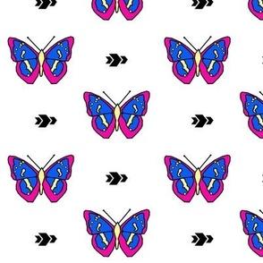 Butterfly >> Geometric Mod Baby Kids Girl Nursery Illustration >> Fuchsia, Royal Blue, and Yellow