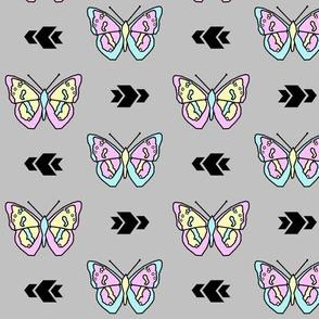 Butterfly >> Geometric Mod Baby Kids Girl Nursery Illustration >> Pastel and Grey