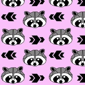 Raccoon >> Woodland Geometric Kids Baby Nursery Illustration >> Black, Grey, and Pink
