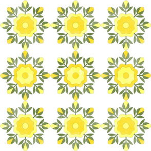 Fill A Yard Rose Bud Wreath Quilt Blocks 6in Yellow Green