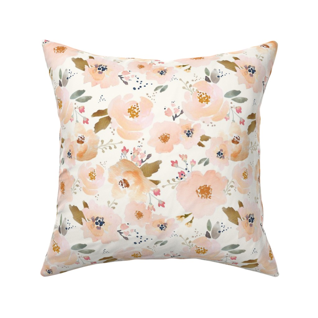 Catalan Throw Pillow featuring Indy Bloom Peachy Blossoms A by indybloomdesign