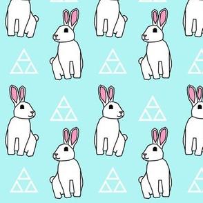 Bunny Rabbit >> Spring Easter Baby Kids Geometric Illustration Woodland >> Turquoise and White Pastel