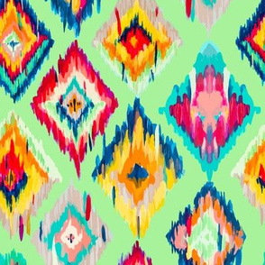 Hand Painted Ikat - mint