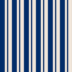 Navy Thick and Thin Stripes on Cream