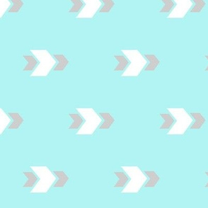 White and Grey Arrows with Turquoise Background