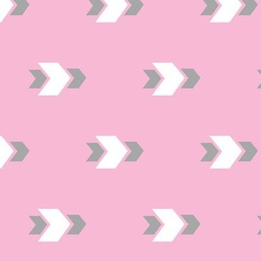 White and Grey Arrows with Pink Background