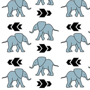 Elephant >> Baby Nursery Kids Geometric Illustration Design >> Grey and Black