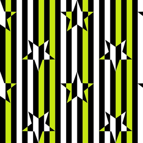 Stars and Stripes black white chartreuse