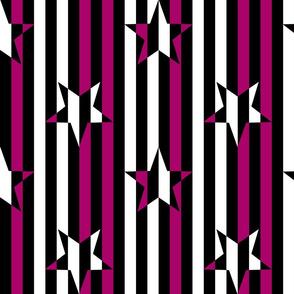 Stars and Stripes Black Fuchsia White