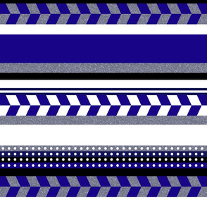 Blue Grey White Aztec Stripe