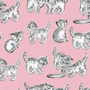 Vintage kitten novelty fabric pink
