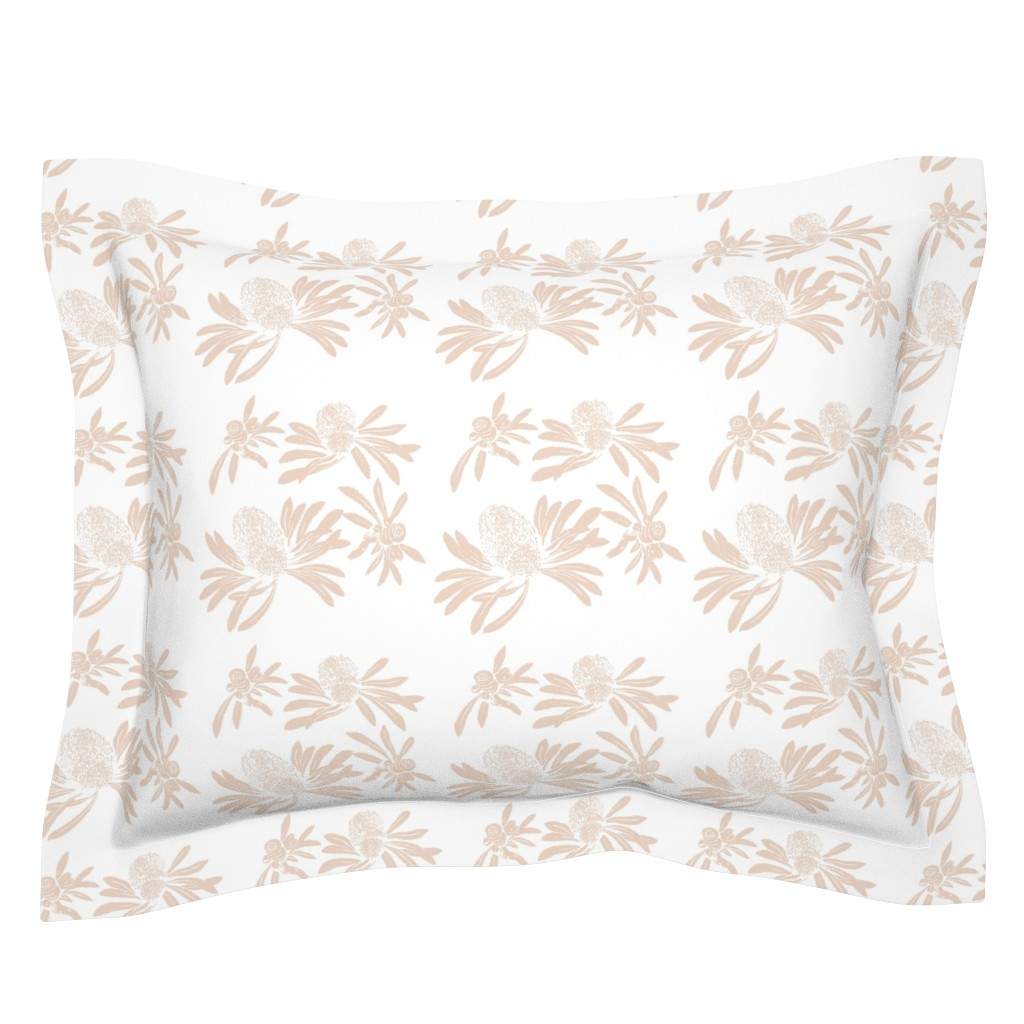 Sebright Pillow Sham featuring banksia floral - blush/white by cinneworthington