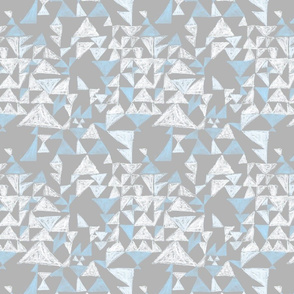 Textured Mod Triangle in soft gray and aqua