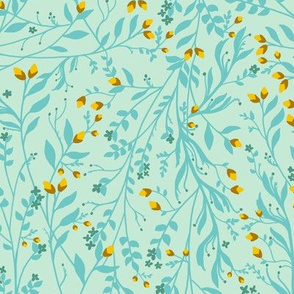 Vintage Floral Vines in Robins Egg Blue & Yellow, Smaller