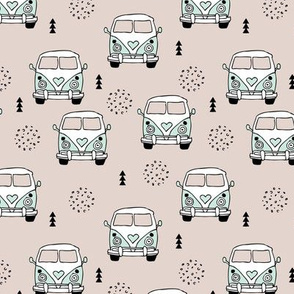 Cool vintage happy camper hippie bus geometric scandinavian illustration design for kids mint