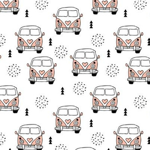 Cool vintage happy camper hippie bus geometric scandinavian illustration design for kids pink