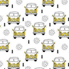 Cool vintage happy camper hippie bus geometric scandinavian illustration design for kids gender neutral yellow ochre mustard