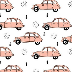 Cool vintage oldtimer cars paris collection geometric scandinavian illustration design for girls pastel pink coral