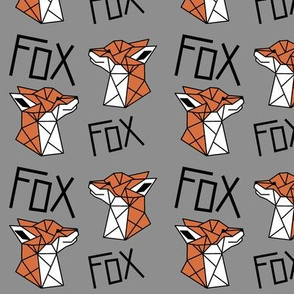 Geometric Fox Profile with Grey Background