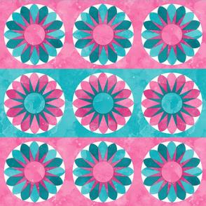 Fill A Yard Sunflowers Quilt Block 6in Pink Aqua