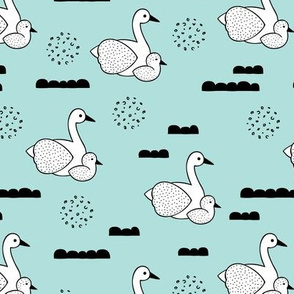 Geometric Scandinavian style spring swan birds mother and baby blue