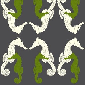 Seahorses in green and white