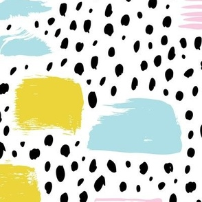 Strokes dots cross and spots raw abstract brush strokes memphis scandinavian style multi color