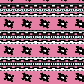 Aztec >> Tribal Mod Geometric Trendy Baby Kids >> Pink and Turquoise