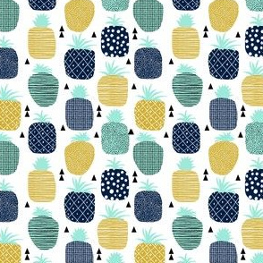 pineapple tropical fruit summer navy blue
