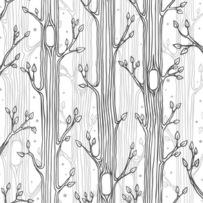 Pattern for coloring, forest background