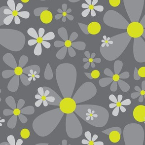 15-01F Scandinavian Daisy Flower || Floral Dark charcoal Gray grey Lime yellow green _Miss Chiff Designs
