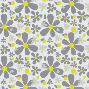 15-01B Graphic Scandinavian Daisy Flower || Floral Dark charcoal Gray grey Lime yellow green _Miss Chiff Designs
