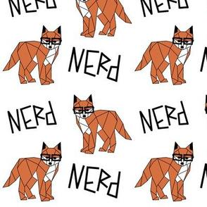 Nerd Fox >> Geometric Hipster Baby Kids Woodland Illustration Design >> White, Black, and Orange