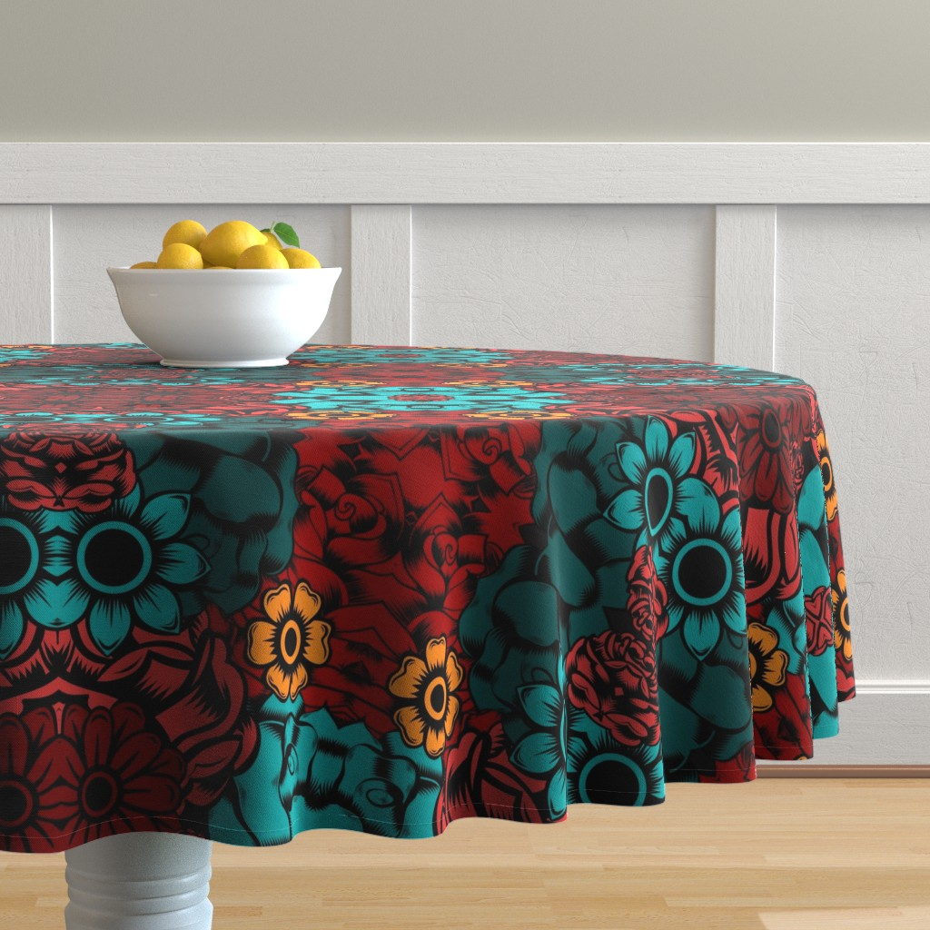 Malay Round Tablecloth featuring Ma Frida by sewingpatternbee