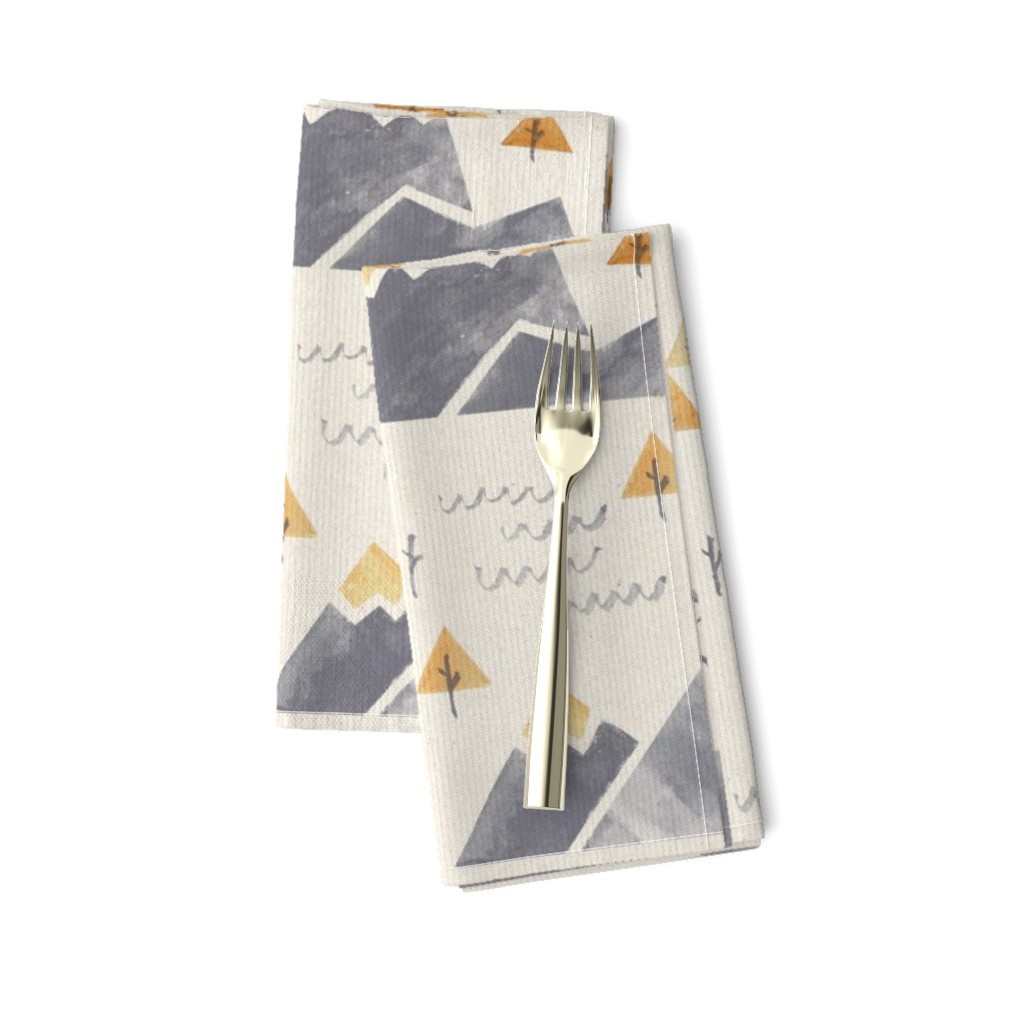 Amarela Dinner Napkins featuring Gold-Tipped Watercolor Mountains by papercanoefabricshop